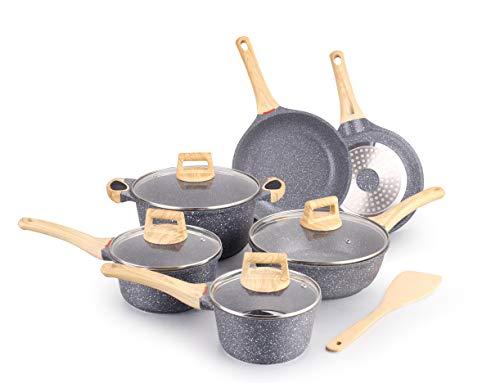Hansubute Nonstick Induction Stone cookware set pots and pans 7-Piece Set...