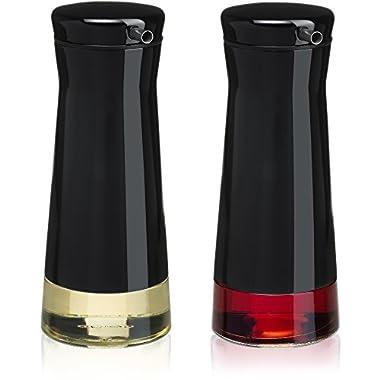 CHEFVANTAGE Olive Oil and Vinegar Cruet Dispenser Set with Elegant Glass Bottle and Drip Free Design - Black