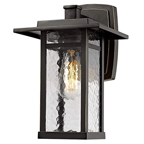 Outdoor Wall Lighting Fixture, Beionxii 13.6 Inch Height Large Exterior Wall Mount Lantern Sconce, Oil Rubbed Bronze Finish with Water Ripple Glass 1 Pack - A268 Series