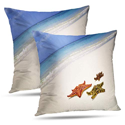 wonzhrui Decorative Throw Cuscini Water Starfish Beach Island Vietnam Abstract Asia Beautiful Blue Pillow Cushion Cover for Bedroom Sofa Living Room 18 x 18 inch