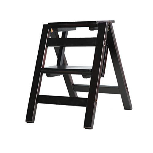 JINWEI Paso Stool, 2-Escalera Plegable - Plegable de Madera de Pino Reposapiés Flower Bench Soporte del Zapato, Tamaño 38x46x50cm Estable Seguro (Color : Negro)