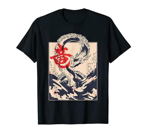 Arte Japón Cuadro de Dragón Xilografía Nipponica Geisha Camiseta