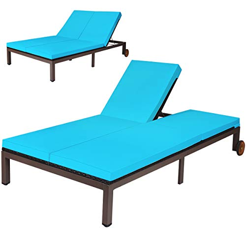 Tangkula 2-Person Patio Lounge Chair, Outdoor Rattan Double Wicker Daybed Chaise Lounge Chair with Adjustable Backrest Wheels & Cushion, Patio Sofa for Garden Lawn Backyard (Turquoise)