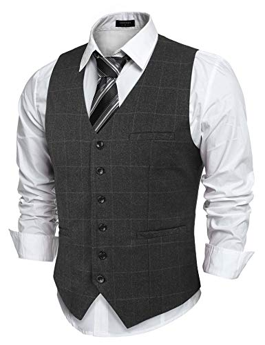 COOFANDY Herren Anzugweste Kariert Elegant Basic Weste Stilvoll Vest Regular Design, Grau, XL