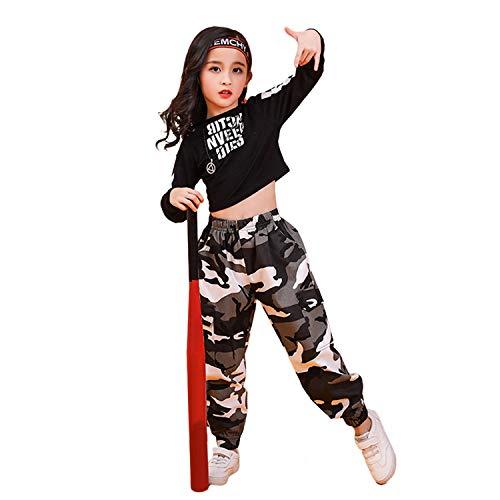 Disfraz de Danza Jazz Moderna para niñas Ropa de Baile de Camuflaje Callejero Vestido de Baile Hip-Hop (10-11 años, Negro y Gris)