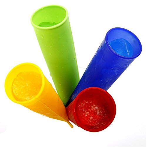 Flexible y antiadherente. Reutilizables 1000de veces Lavavajillas/horno/congelador/Safe microondas Prueba de temperatura de + 260ºC a -60º Pack de 4Toy Zany–Molde de silicona pop moldes (colores mezclados)