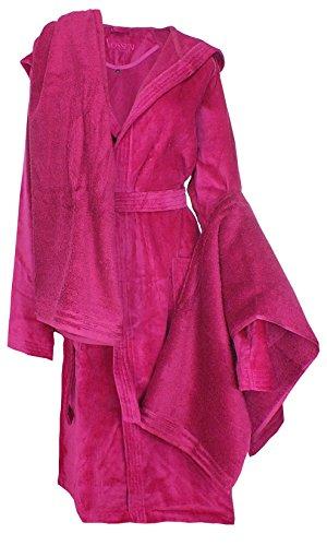 Vossen Unisex Bademantel Set Duschtuch Cranberry Gr. XL