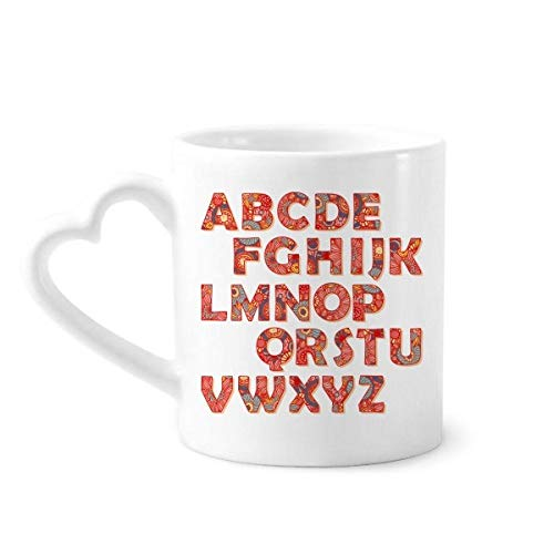 DIYthinker Bloemblad De letter A-Z Patroon Koffiemokken Aardewerk Keramische Beker Met Hart Handvat 12oz Gift