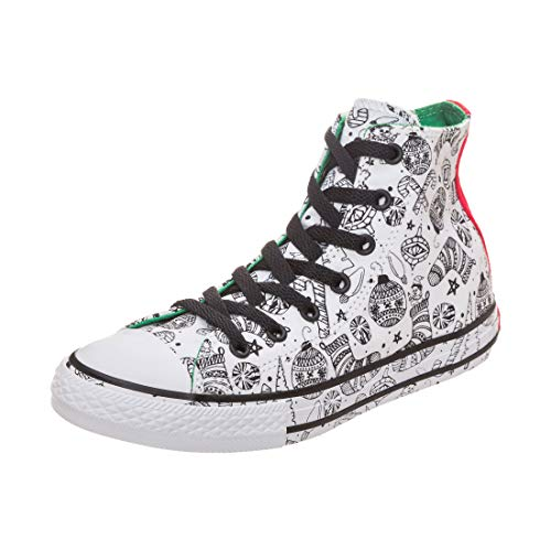 Converse Kids Chuck Taylor All Star Holiday Coloring Book - Hi Little Kid/Big Kid White/Green/Siren Red Girls Shoes