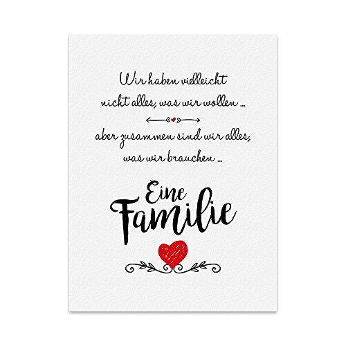 Kunstdruck, Poster mit Spruch – EINE Familie - Typografie-Bild auf hochwertigem Karton - Plakat, Druck, Print Wandbild