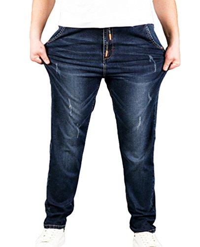 Heheja Uomo Taglia Grossa Sottile Denim Pantaloni Vita Alta Elasticità Straight Fit Jeans Come Immagine 4XL