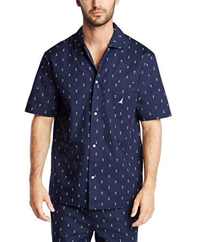 Nautica Men's Short Sleeve 100% Cotton Soft Woven Button Down Pajama Top, Maritime Navy, Large