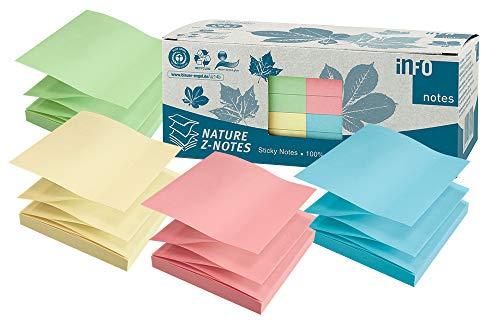 inFO Notes 100% Recycling Haftnotizen, pastellmix, zertifiziert mit dem Blauen Engel, 100 Blatt pro Block, 12 Blöcke in Recycling Box verpackt, 75 x 75 mm