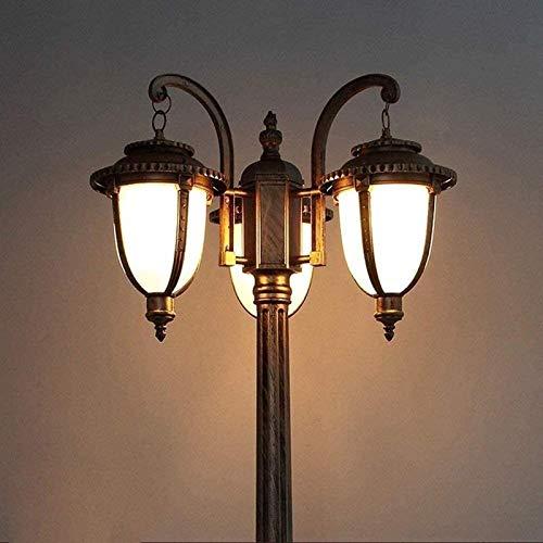3-Light IP55 Impermeable Retro Bolardo al Aire Libre Post Light Villa Patio Jardín Paisaje Lámpara de Columna Lámpara de Cristal Linterna Calle Street Sligh Pilar Luz E27 BJY969 (Size : 165cm)