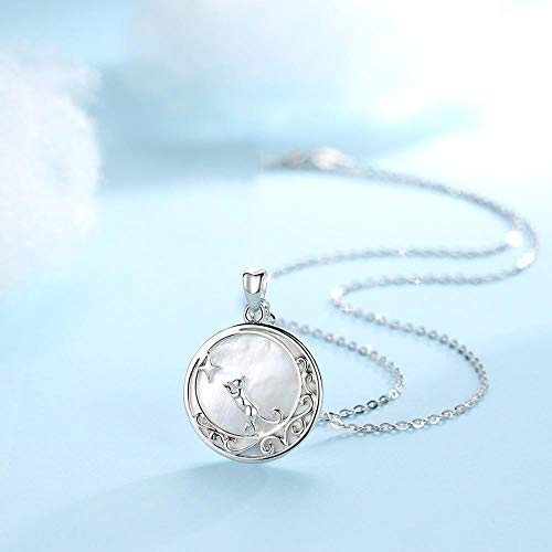 BJGCWY Colgante de nácar Natural Concha Blanca Colgante de Plata esterlina 925 Luna Estrella Collar de Gato Joyero