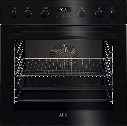 AEG ECS455020B Einbauherd/SteamBake – mit Feuchtigkeitszugabe/Katalyse – einfache Reinigung/Reinigung mit Wasserdampf/Touch-Bedienung/Grillfunktion/Display mit Uhr/A+ / Schwarz