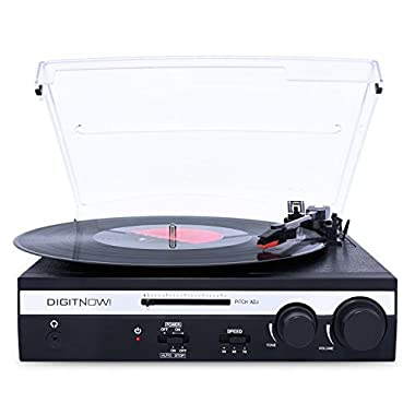 DIGITNOW! Turntable Vinyl LP Record Player/Converter with Pitch Control, Tone Control/ PC Encoding/Recording, Aux in/Built-in stereo speakers, RCA Ouput, 3.5mm Headphone jack,digitizer LP with win/mac