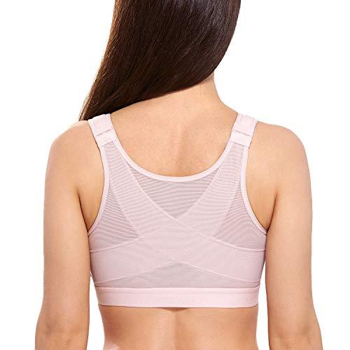 DELIMIRA - Sujetador Corrector de Postura con Soporte de Espalda en X para Mujer Rosa Desnuda 105C