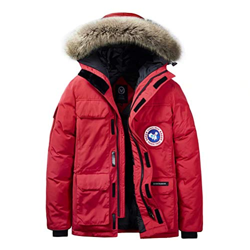 JIANYE Winterparka Herren Parka Jacke Gefüttert Winterjacke Warme Jacke Outdoor Kapuzenjacke Winddicht Parka Rote 8XL