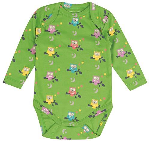 Piccalilly Body de manga larga para bebé, suave, algodón orgánico, estampado de búho verde Verde...