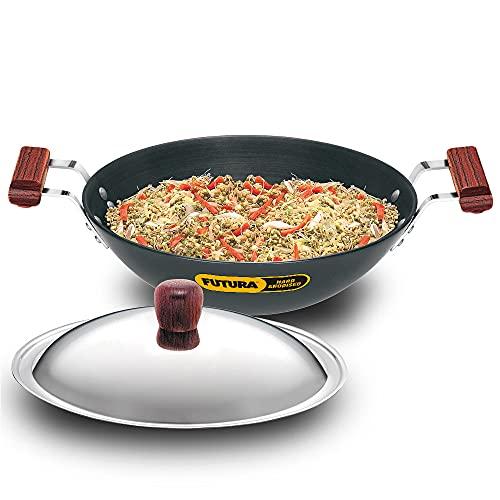 Hawkins Futura Hard Anodised Deep-Fry Pan (Flat Bottom) with Stainless Steel Lid, Capacity 3.75...