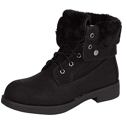 DREAM PAIRS Women's Montreal All Black Faux Fur Winter Combat Boots Ankle Bootie Size 8.5 B(M) US