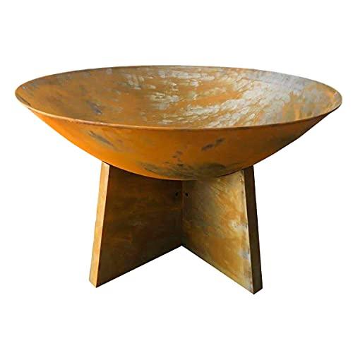 Charles Bentley 60cm Oxidised Rust Finish Fire Pit Minimalist Design Outdoor Use Deep Fire Bowl