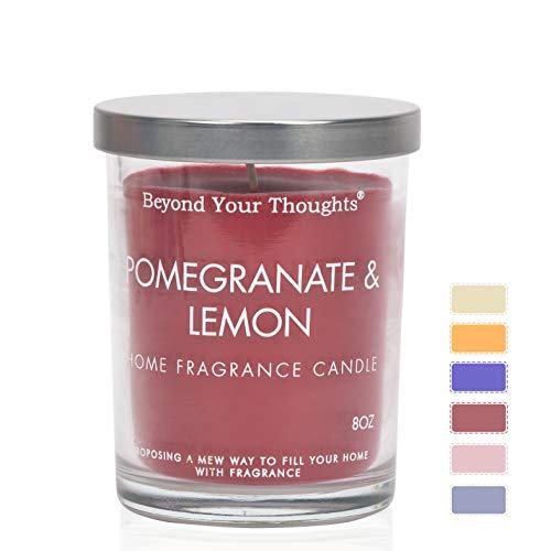 Beyond Your Thoughts Duftkerze Aroma Kerzen Duftkerze Glas Dosenkerzen 100% Sojawachs Aromatherapie Kerzen Groß Dose Geschenk Set Candle Granatapfel & Zitrone