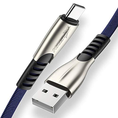 NRGY - Cable USB a USB Tipo C (3.0) Carga Rápida y sincronización Nylon trenzado Duradero para Samsung Galaxy S20, S20 Plus, HTC 10/U11, Huawei P40 Lite Pro, One Plus, Sony, Xiaomi etc (Azul, 1M)