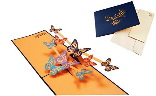 LIN 17539, Pop Up Karte Schmetterling, Pop Up Karte Geburtstag, Pop Up Geburtstagskarte, 3D Karten Natur, Geburtstagskarten, Muttertagskarten, Grußkarten Schmetterlinge, N293