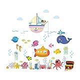 Greyoe pegatinas pared decorativas infantiles, Bajo el Mar Pegatinas De Pared, Vinilos infantiles de PVC Sea Adventure para decoración de habitaciones, baños y salas de juegos para niños