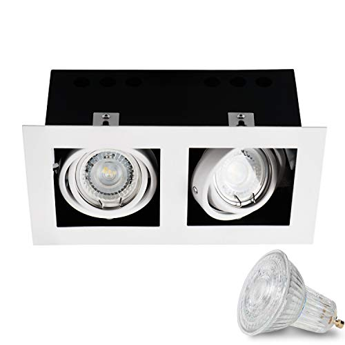 Einbauspots 2-flammig (weiss, quadratisch, schwenkbar) IP20 LED inkl. 2 X 5W Warmweiss GU10 Fassung Decken Einbaustrahler Deckenstrahler Deckenspots, horizontal und vertikal einstellbar
