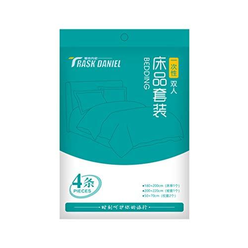 Bed Sheet,Vaeiner Draagbare Compressed Disposable Single Double Bed Supplies Quilt Sheets Kussensloop Handdoek Slaapzakken voor Reizen SPA Hotel Gebruik 6 Kleur: wit