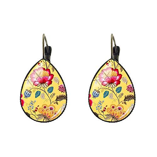 Damen Ohrringe Glaskunst Bild Fenster Gitter Träne Wassertropfen Ohrclips Ohrringe Antik Bronze Frauen Schmuck Geschenk