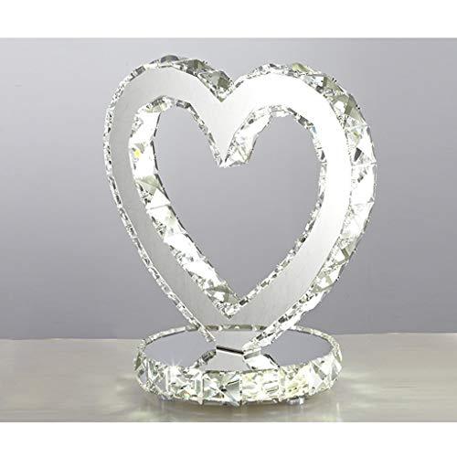 LLYU Lámpara de Mesa de Cristal de Acero Inoxidable Creativa, lámpara de mesita de Noche LED, lámpara de decoración de Sala de Estar de Cristal en Forma de corazón