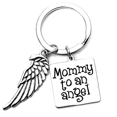 Aimrio Joyería Llavero de Acero Inoxidable Accesorios para Llaves Cuadrado Grabado de la Placa Mommy to an Angel with Pedant WingMommy Encantos Colgantes de Llavero