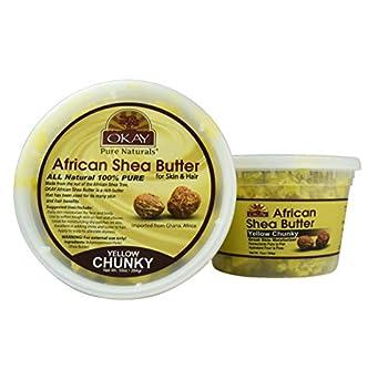 Okay Shea Butter Chunks Jar Yellow 10 Ounce