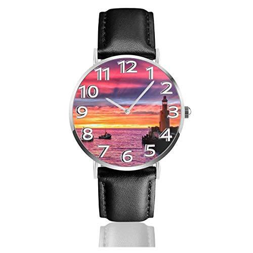 Reloj de Pulsera Sunset Lighthouse Ocean Water Purple Durable PU Correa de Cuero Relojes de Negocios de Cuarzo Reloj de Pulsera Informal Unisex