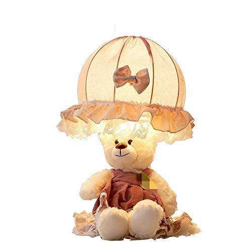 Wgxssjc Lámparas de Mesa Princesa de Dibujos Animados Creativa lámpara de Escritorio del Oso la lámpara de Noche Lámpara de Mesa de Encaje Linda habitación de los niños Sitio de Las Muchachas