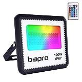 100W RGB Foco LED con Control Remoto, Foco Proyector Exteriores Interior IP67 Impermeable LED Reflecto 16 colores 4 modos Luces de Humor para Fiesta Jardín Halloween, Decoración Navideña