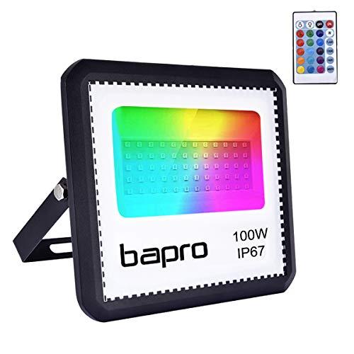 100W Faretto LED RGB Esterno Con Telecomando 16 Colori 4 Modalità Illuminazione Proiettore LED, Impermeabile IP67, Faro per Natale Halloween Festa Giardino [Classe di efficienza energetica A]