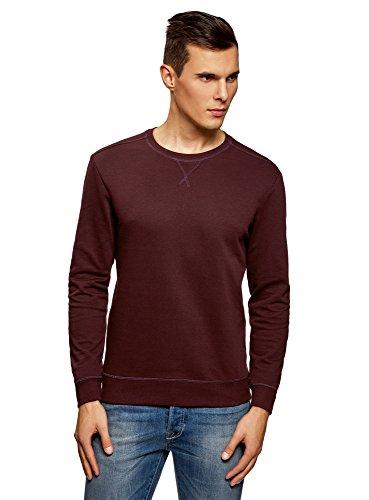 oodji Ultra Homme Sweat-Shirt Basique en Coton, Marron, FR 50 / M