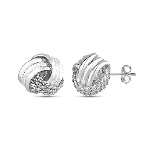 LeCalla Joyas de plata italiana pendiente del perno prisionero del diseño del nudo de amor de muchacha de las mujeres