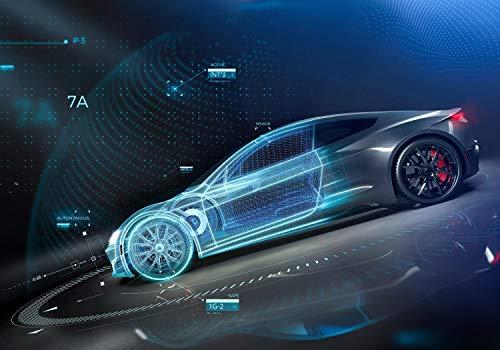 wandmotiv24 Fototapete Auto Mechanisch 3D, L 300 x 210 cm - 6 Teile, Fototapeten, Wandbild, Motivtapeten, Vlies-Tapeten, Abstrakt Fahrzeuge M6046