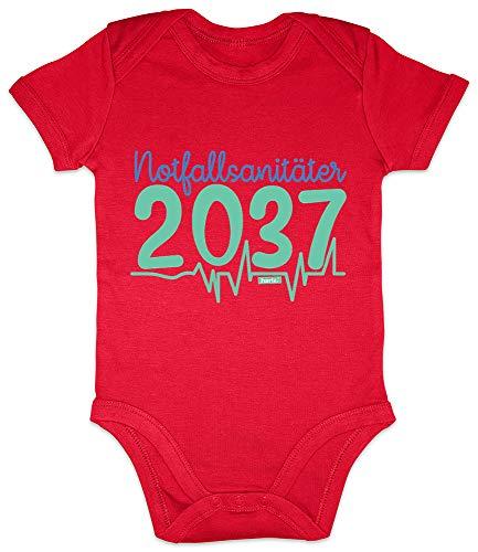 Hariz 2037 - Body de manga corta para bebé, ideal como regalo para el Día del Padre, incluye tarjeta de regalo rojo Bomberos de color rojo. Talla:0-3 meses