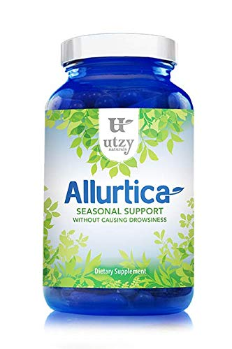 Natural Nettle Leaf Supplement Capsules - Allurtica Herbal Supplement with Quercetin and Stinging Nettle for Adults/Kids Non Drowsy 120ct