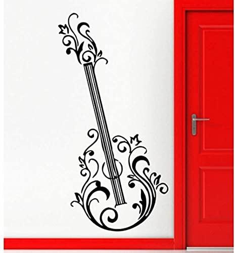 Guitarra Floral Música Rock & Amp Amp Amp Roll Positivo Mural Arte De La Pared Decoración Vinilo Adhesivo 57 * 88Cm