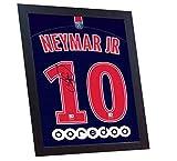 SGH SERVICES Neuf Neymar T-Shirt Paris Saint Germain T-Shirt Maillot de Football dédicacée encadrée Toile 100% Coton autographe encadrée # 4