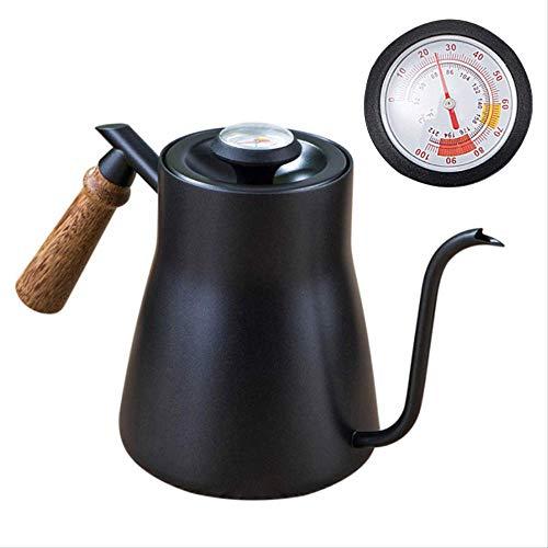Gooseneck Koffie Ketel met Thermometer Deksel Home Cafe 850ml Roestvrij Staal Gieten Druppel Tuit Theepot Theepot Hout Handvat Zwart