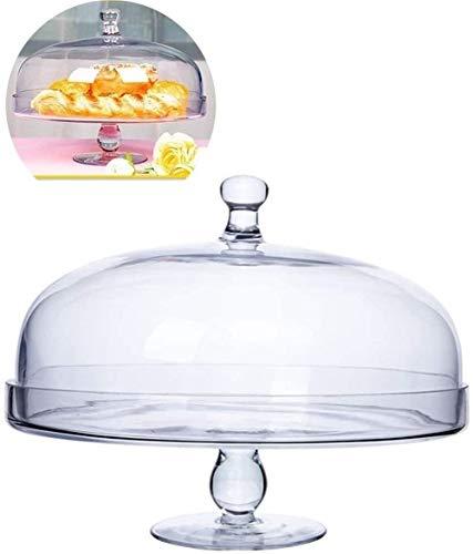 YWAWJ Obstteller Kreative Imbiss-Platte Moderne Wohnzimmer transparente Darstellung Brotteller Küche Einfache modernes Glas Obst Frische Abdeckung Käseplatte Abdeckung Cake Stands (Size : 34 * 28CM)
